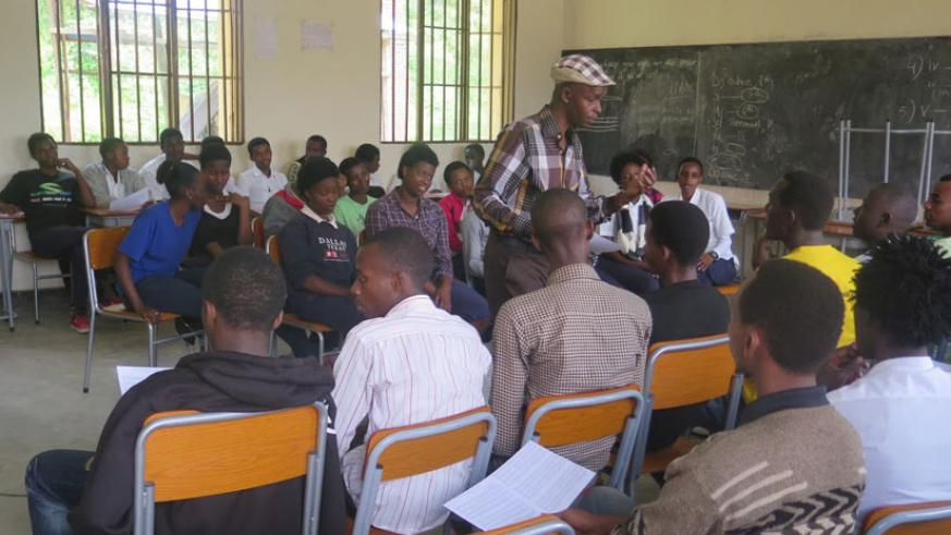 An instructor guides students during a vocal training session. ( All photos by Solomon Asaba)