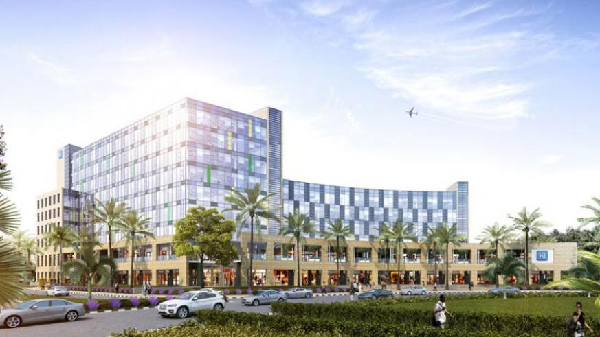 An artistic impression of Kigali Heights building that is under construction in Kacyiru, Kigali. (Courtesy)