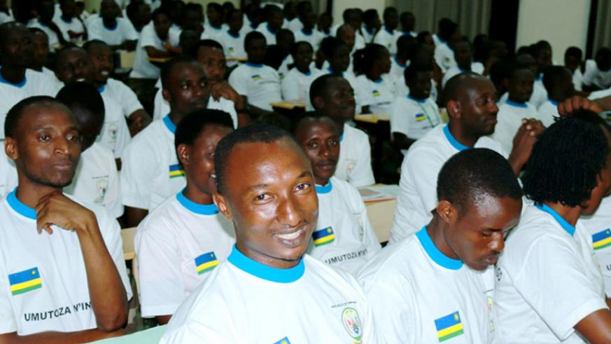 Some of youth leaders from across Kigali at the closure of  Itorero in Rulindo. (Jean d'Amour Mbonyinshuti)