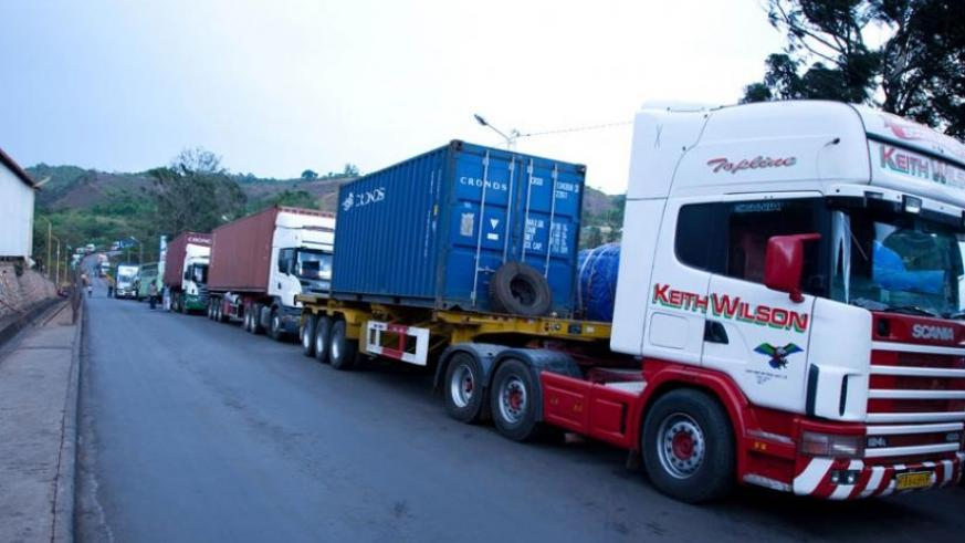 Trucks from Tanzania at Rusumo border post await clearance by Customs and revenue officials. (File)