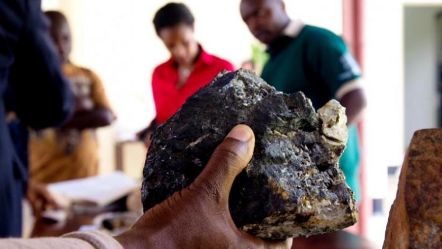 A piece of colterm mineral at a past mini expo in Kigali. (File)