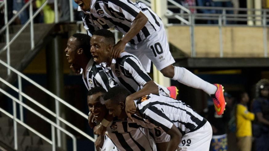 APR players celebrate after defeating Rayon Sports 2-1 in the first round. (File)