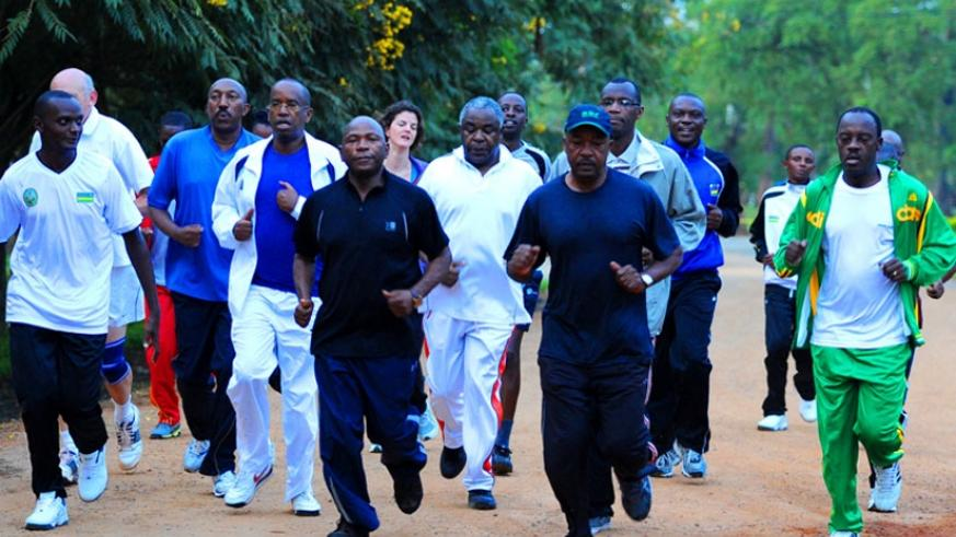Some of the officials who attended the National Leadership Retreat last year take to morning exercises. (File)