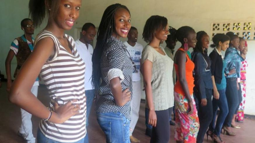 Contestants for Mr and Miss Mt. Kenya university beauty pageant during rehearsals recently. (Stephen Kalimba)