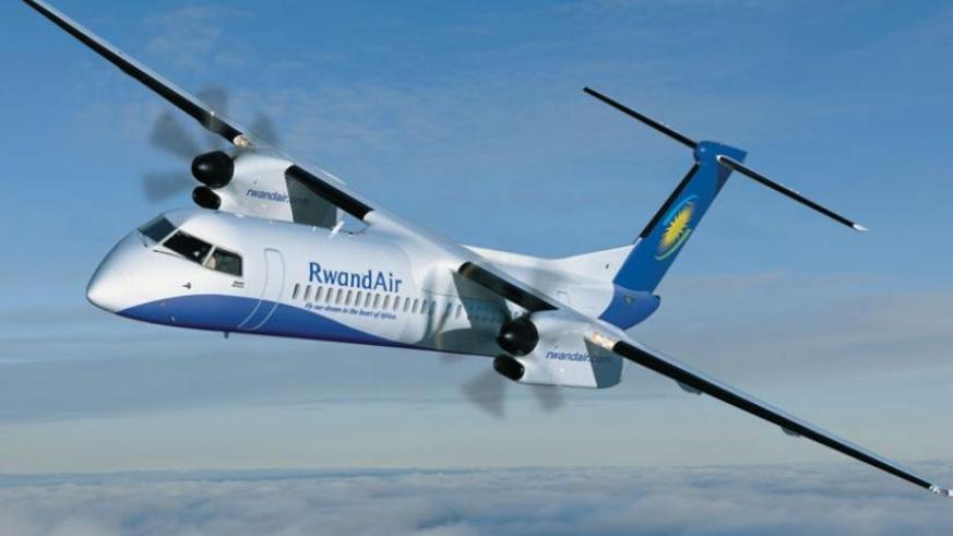A RwandAir plane after takeoff at Kigali International Airport. Northern Corridor states are planning to open up the airspaces. (File)