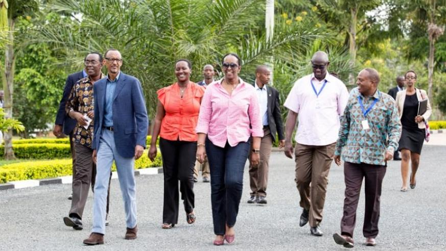 President Kagame, First Lady Jeannette Kagame and government officials on the last day of the twelfth National Leadership Retreat in Gabiro yesterday. (Village Urugwiro)