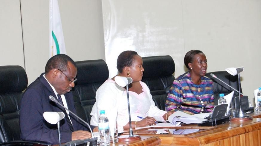 Gatete (L), MP Jeanne D'Arc Nyinawase, and Mushikiwabo during the meeting on the Northern Corridor projects. (Athan Tashobya)