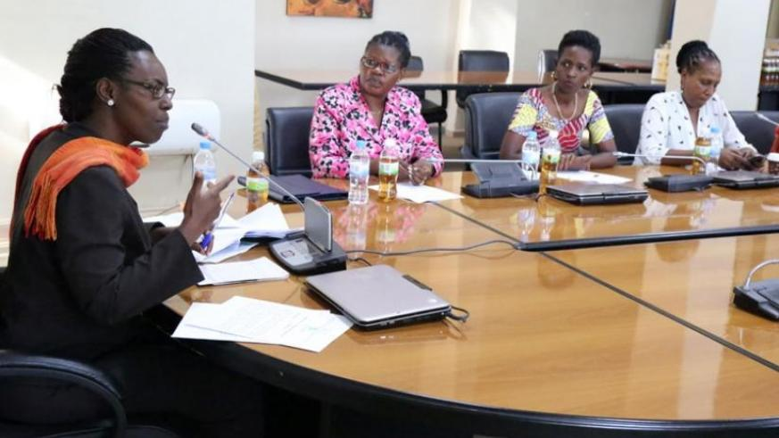 The Permanent Secretary in the Ministry of Gender and Family Promotion Henriette Umulisa (L), addresses journalists yesterday. (John Mbanda)