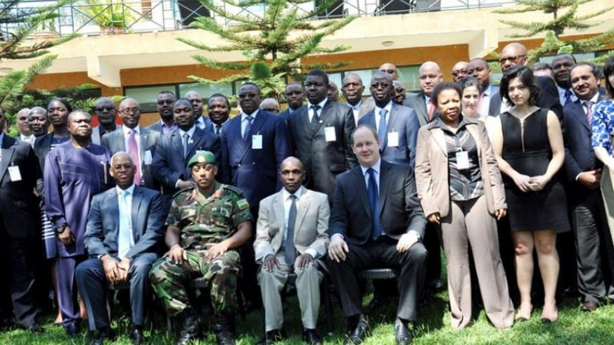 Representatives of the five regional forces for Peace Support Operations of the African Standby Force, in a group photo yesterday. (Courtesy)