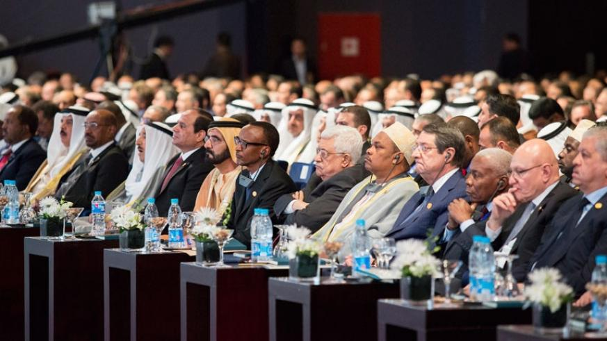 President Kagame with other leaders attending the Egypt Economic Development Conference- Sharm El-Sheikh yesterday.