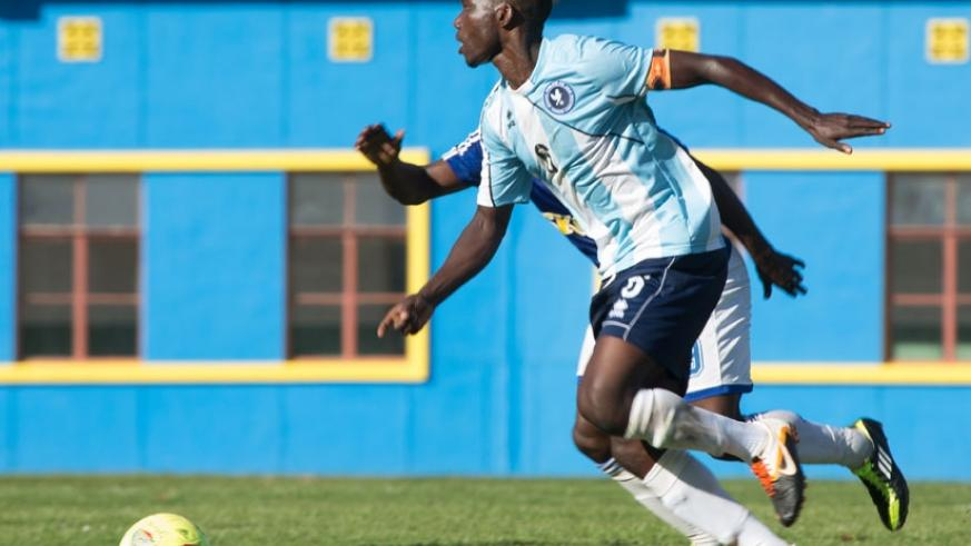 Fabrice Twagizimana, seen here in action against Rayon Sports in the semi-final of the Ombudsman Cup last December.  (T. Kisambira)