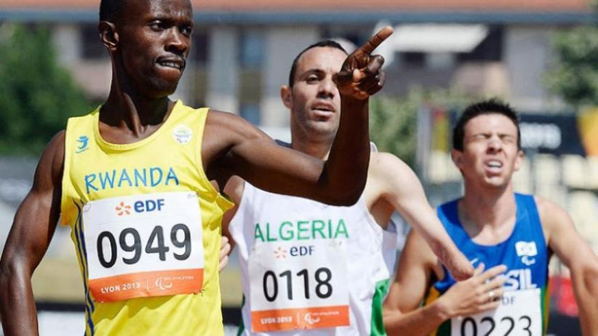 Hermas Muvunyi celebrates after winning the Men's 800m-T46 title at the IPC World Championships in Lyon, France. (File)