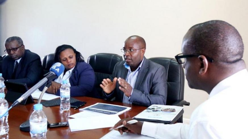 Dr Nzahabwanimana (2nd right) responds to queries from the senators at Parliament yesterday. (John Mbanda)
