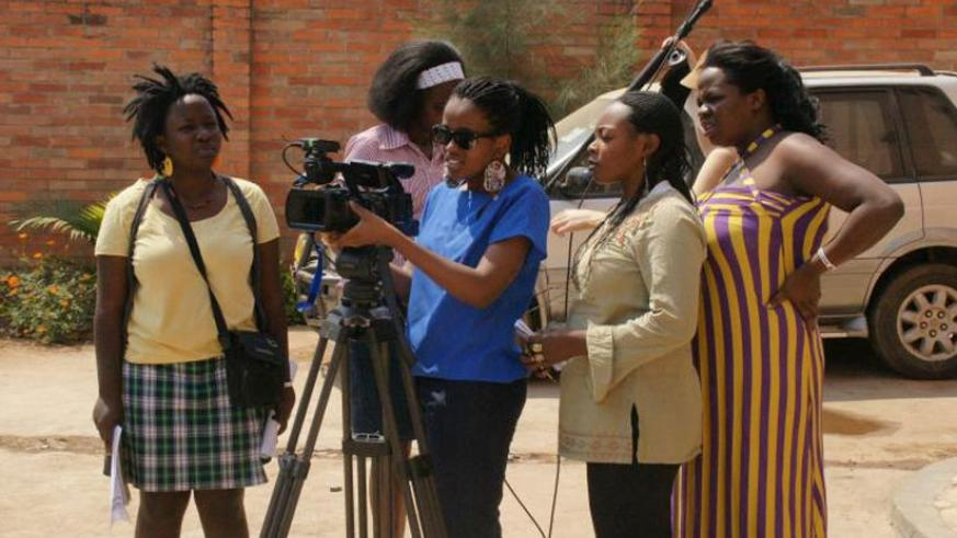 Young women during a filmmaking workshop in Kigali . (Net)