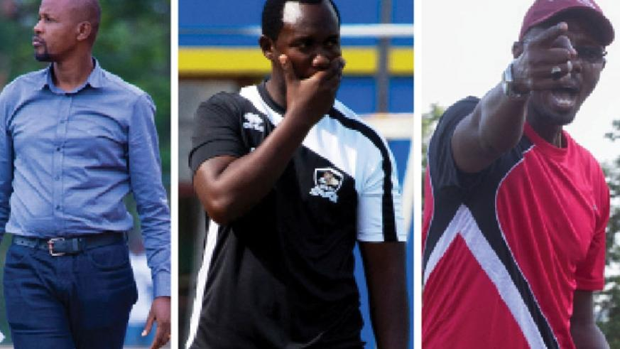 (L-R) Andre Cassa Mbungo of Police FC , APR's Vincent Mashami & AS Kigali coach Eric Nshimiyimana.