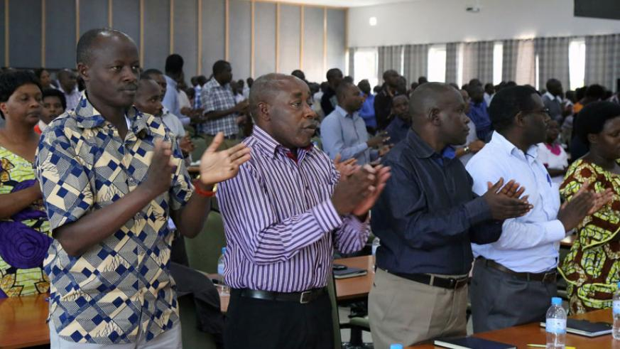 District mayors from Northern Province sing during the retreat at Gabiro yesterday. (John Mbanda)