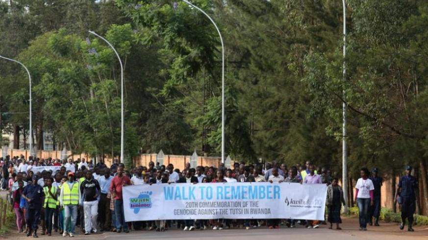 Residents of Kicukiro participate in a walk to remember last year. (File)