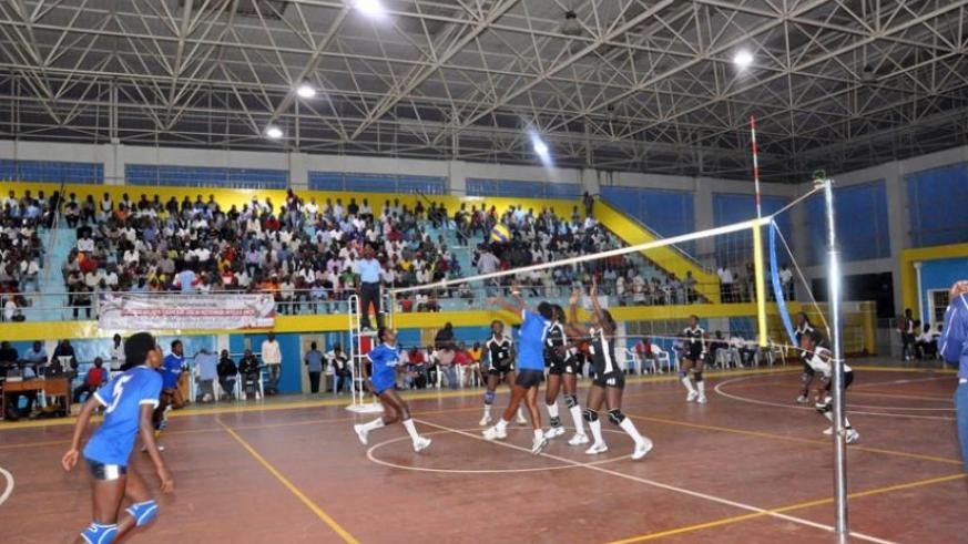 Rwanda Revenue Authority (Blue) in a league game against APR last season. The club is keen to impress in the African Volleyball women tournament. (File)