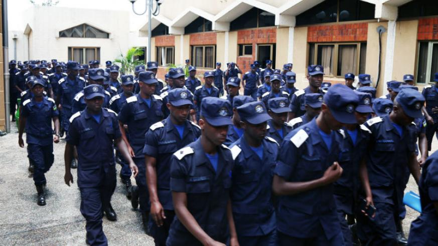 Police officer cadets during a guided tour of Parliament buildings yesterday. Mbanda