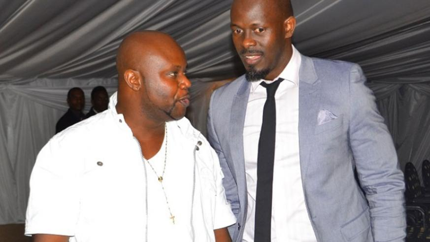 Before the storm. (L-R), Kidum and Frankie Joe at the Big Brother Africa reunion party at Kigali Serena hotel.