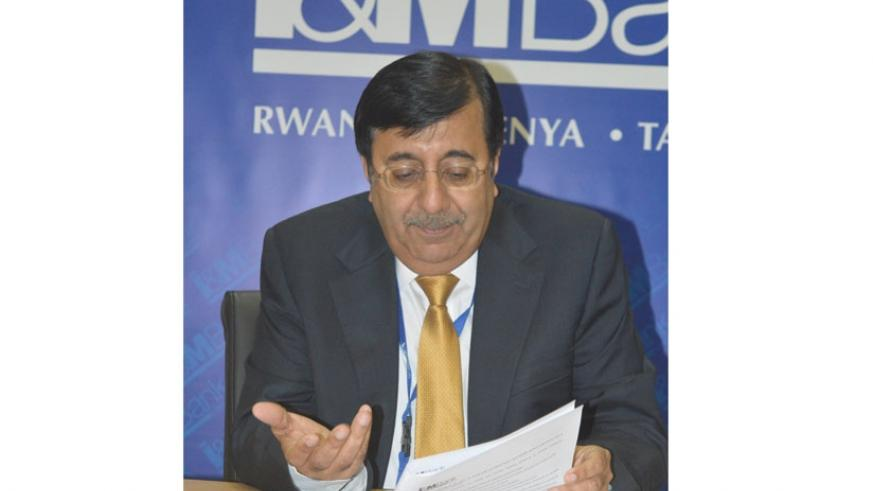 Anand speaks during the press briefing on Friday. He said I&M Bank will focus on e-banking and network expansion this year. (Solomon Asaba)