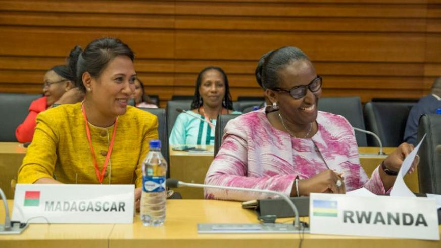 First Lady Jeannette Kagame with Madagascar's First Lady at the sidelines of the Comesa Heads of State and Government Summit in Addis Ababa, Ethiopia, yesterday. (Courtesy)