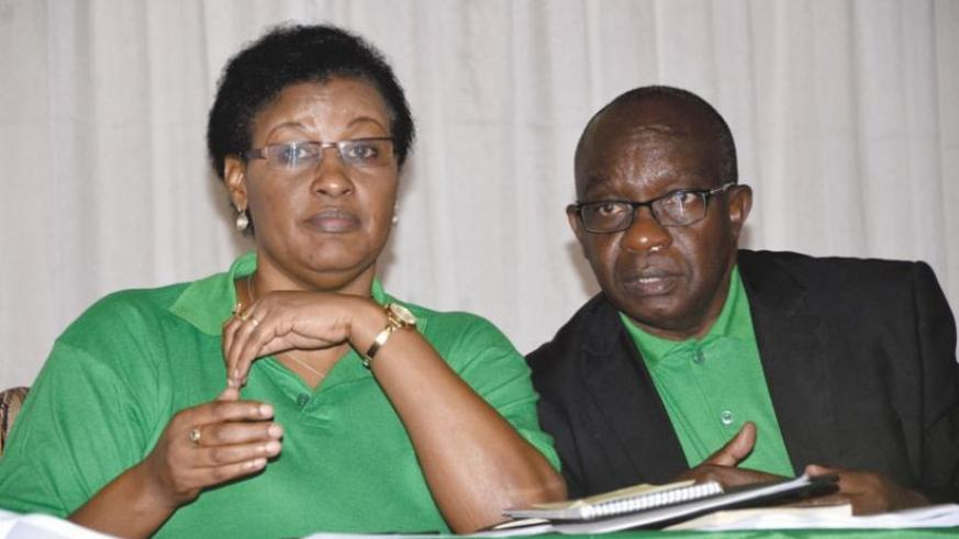 PL interim president Donatille Mukabalisa (L), and second vice-president Francois Byabarumwanzi, during the party congress yesterday. (Sam Ngendahimana)