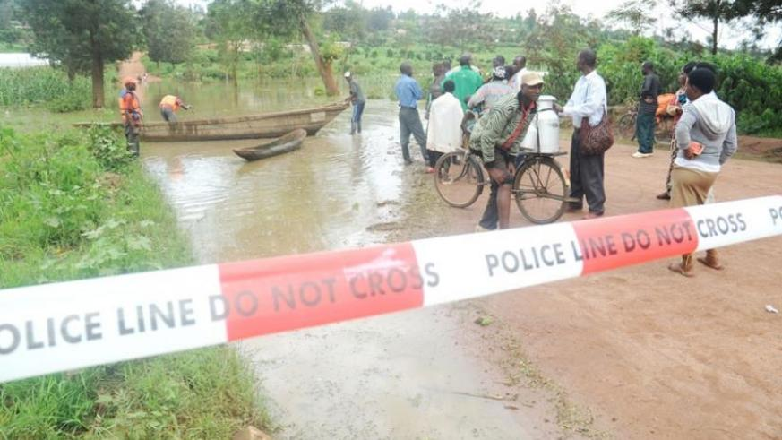 A river bank burst, flooding the road to Masaka in the outskirts of Kigali in 2012. (File)