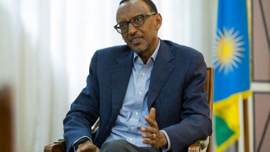 President Kagame during the interview with Jeune Afrique's Francois Soudan on March 23 in Kigali. (Village Urugwiro)