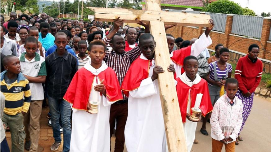 Christians of St Joseph Catholic Parish in Kicukiro District perform the Way of the Cross to observe Good Friday yesterday.  (All photos by John Mbanda)