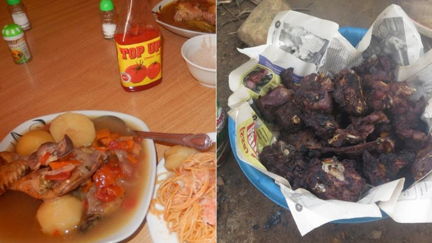 Food served at a local restaurant (L) and roast goat meat about to be served by a lakeside restaurant.