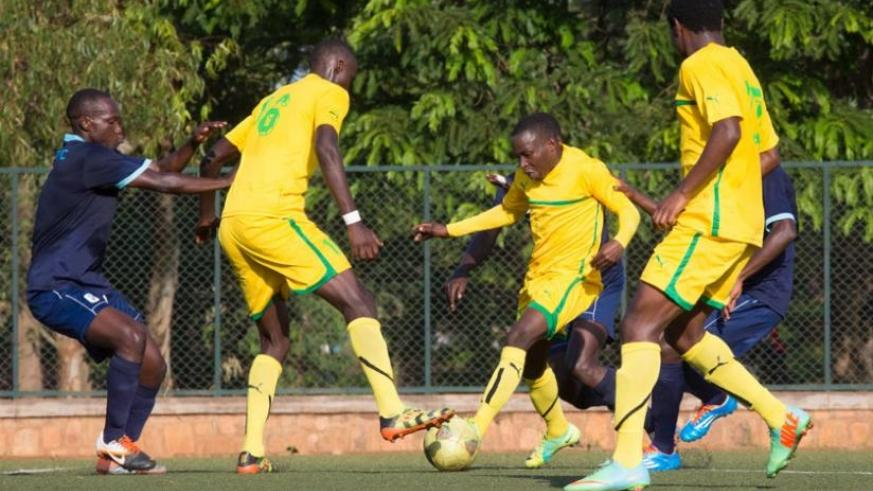 AS Kigali in a league match with Police early this season that ended in a goalless draw. The Kigali City Council side is on course to  win  their first league title. (File)