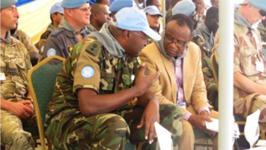Lt. Col. Muvunyi chats with one of the UN officials who attended the commemoration event in Juba, South Sudan on Tuesday.  (Courtesy)
