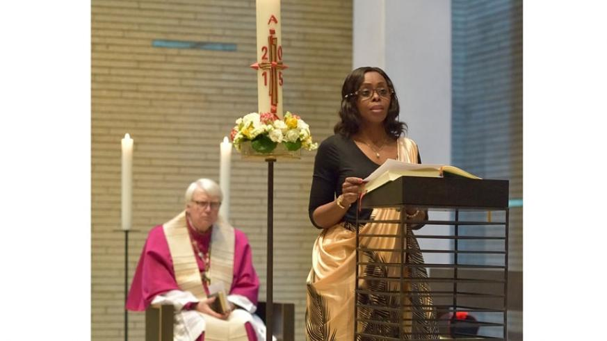 Amb. Nkulikiyinka speaks at the memorial event in Berlin. (Courtesy)