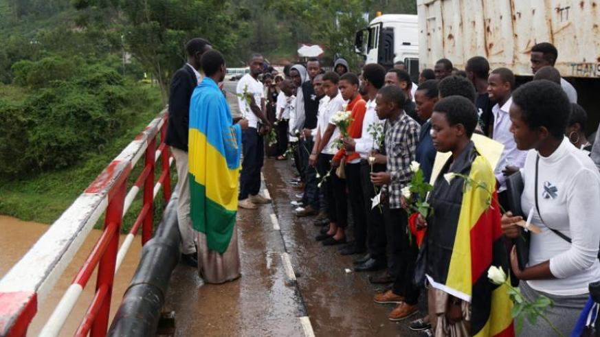 Students at River Nyabarongo where they paid respect to Genocide victims thrown into the river. (J Mbanda)