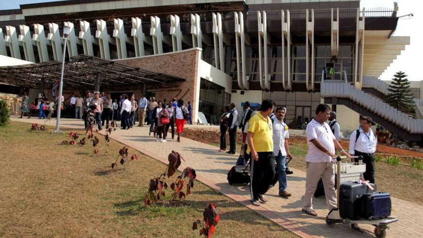 Visitors leave the Arrivals section of Kigali International Airport last year. (File)