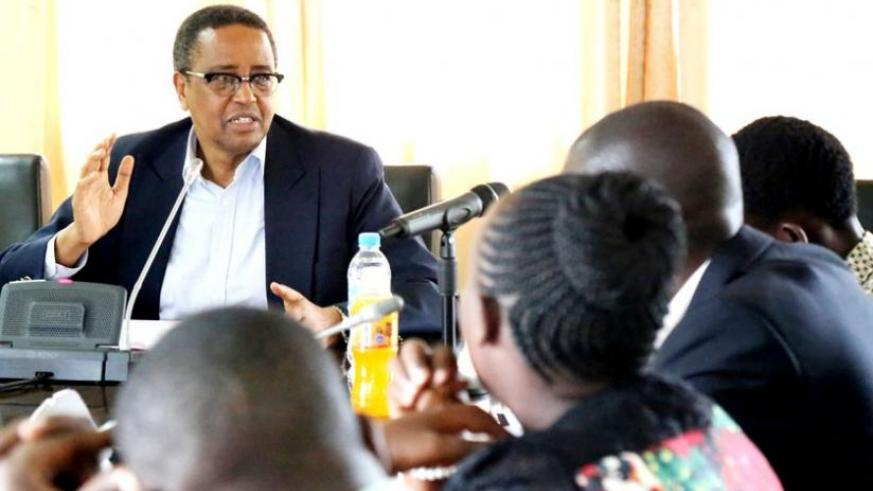 The Minister for Education, Prof Silas Lwakabamba, addresses journalists in Kigali yesterday. (John Mbanda)