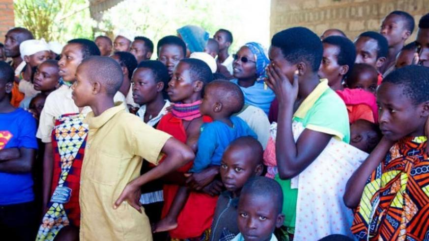 Some-of the Burundian Refugees at the Transit centre in Gashora, Bugesera District recently. Most of these are children. (File)