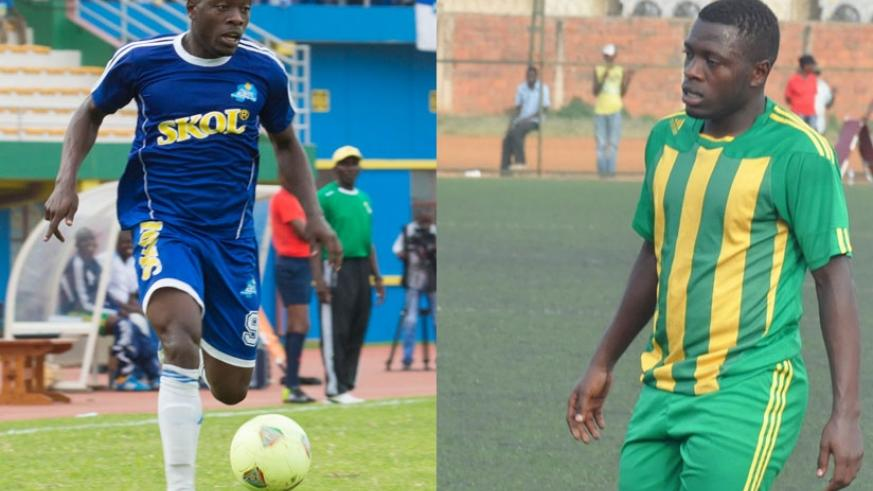 Isaie Songa (R) has scored 11 league goals for AS Kigali this season while his twin brother Isaac Muganza (L) has five for Rayon Sports.