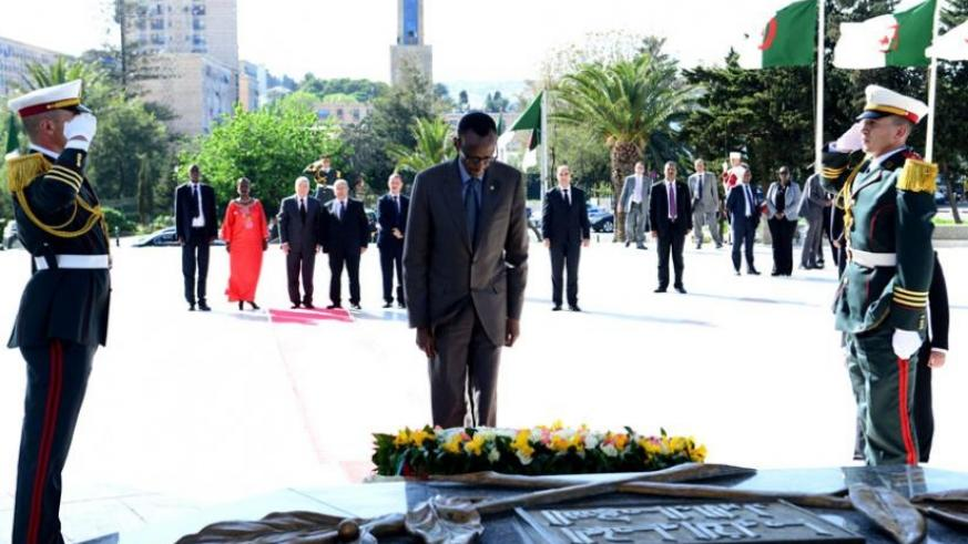 President Kagame lays a wreath at the Martyr's Sanctuary in Algiers, Algeria, yesterday. (Village Urugwiro)