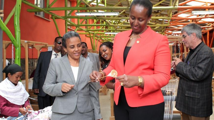 First Lady Jeannette Kagame visited the SoleRebels shoe factory in Addis Ababa yesterday.