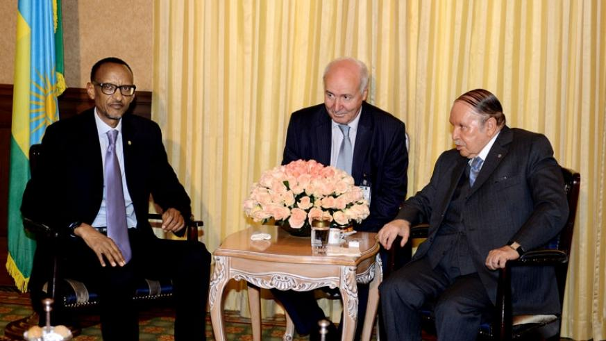 President Paul Kagame and his Algerian counterpart Abdelaziz Bouteflika (R) during their meeting in Algiers yesterday. (Village Urugwiro)