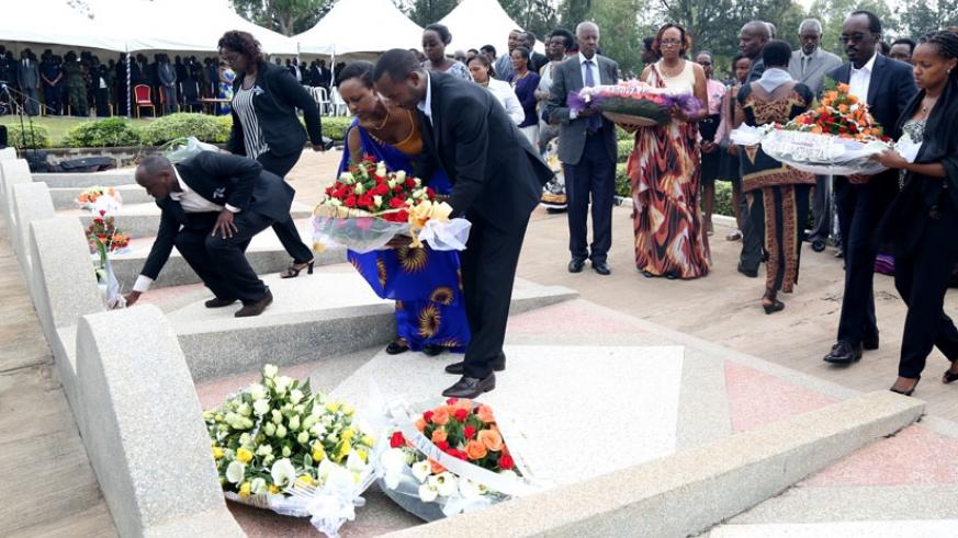 Families pay tribute to relatives who lost their lives to the 1994 Genocide at Rebero memorial recently. (File)