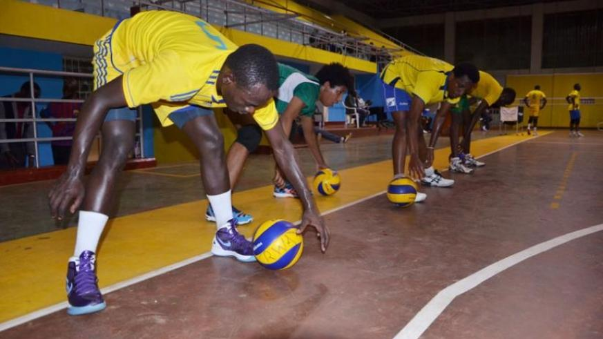 The national volleyball team trains at Amahoro indoor stadium recently. The team plays the first of its three friendlies today. (Sam Ngendahimana)