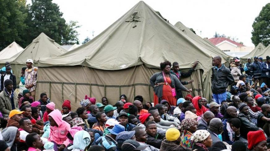 Foreign nationals who fear for their lives gather at a relief camp in Primrose, East of Johannesburg. (Net)