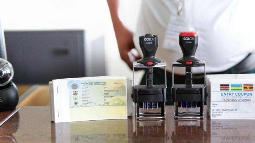 East African Tourist Visa on display at Entebbe International Airport. (File)
