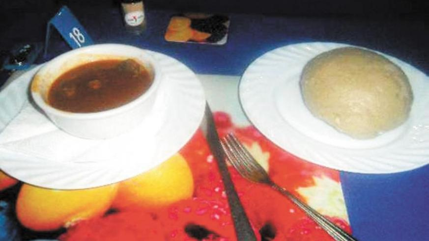 A ready meal of ubugali served with meat. Ubugali is rich in carbohydrates and proteins. (Donah Mbabazi)