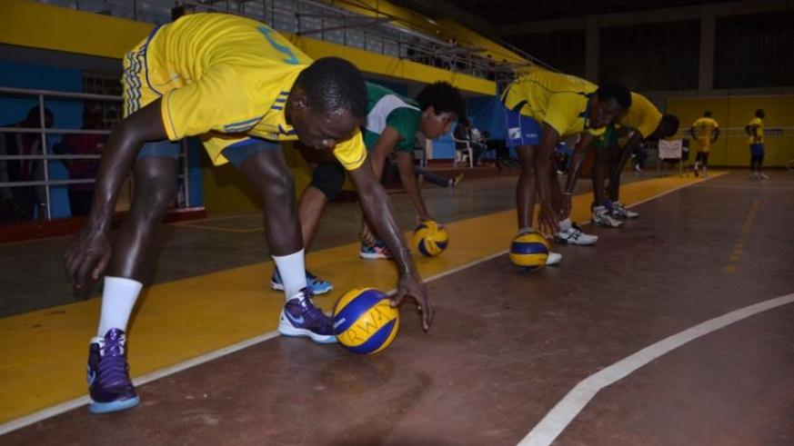 National volleyball team players train before they left for Cameroon. Coach Paul Bitok says the team has learnt valuable lessons from their friendly games against Cameroon. (Sam Ngendahimana)