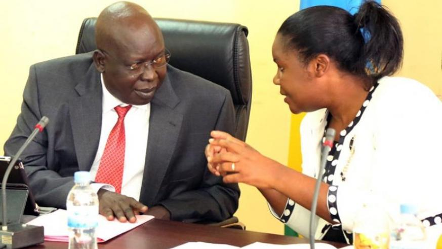 Public Service minister Judith Uwizeye (R) chats with her South Sudanese counterpart Ngor during their meeting yesterday. (John Mbanda)