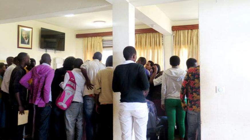 Students camp at REB offices to try to sort out the errors in the registration process. (Byumvuhore Frederic)